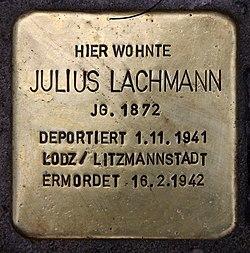 Photo of Julius Lachmann brass plaque