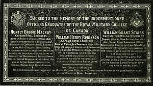 William Grant Stairs - pre WWI memorial plaque dedicated to Royal Military College of Canada ex-cadets William Grant Stairs, Huntly Brodie Mackay, and William Henry Robinson
