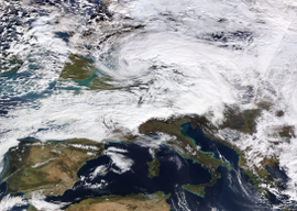 This image shows European windstorm/winter storm David/Friederike on 18. January 2018, approximately centered above the Benelux or Western Germany
