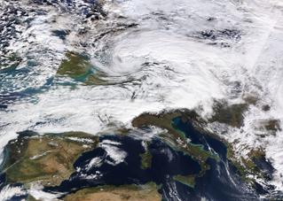 Cyclone Friederike storm in Europe in January 2018