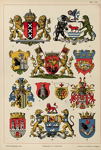 Civic heraldry - Examples of city arms in Heraldischer Atlas (1899) by Austrian heraldic artist Hugo Gerard Ströhl (note that some of these arms have been altered since): 1. Amsterdam, the Netherlands, 2. Oxford, England 3. Brussels, Belgium, 4. Schaffhausen, Switzerland, 5. Le Havre, France 6. Murlo, Italy, 7. Sorbano, Italy, 8. Leipzig, Germany, 9. Hannover, Germany 10. Čáslav, Czech Republic, 11. Târgu Mureș, Romania, 12. Mumbai, India