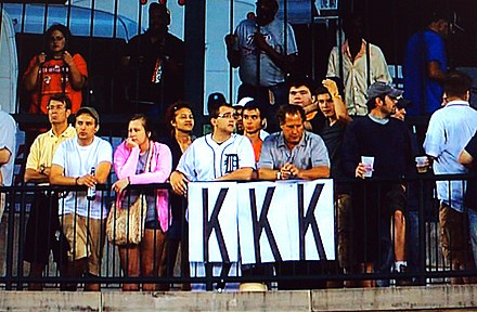 Detroit Tigers fan keep track of their starting pitcher's strikeouts during a game in 2010, with each 'K' representing one strikeout StrikeoutsByFans.jpg