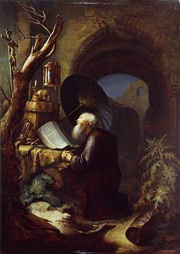 Studio of Gerard Dou - A Hermit at Prayer WLC WLC P177