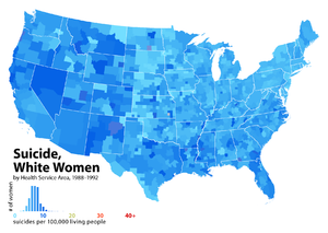 Epidemiology of suicide - United States suicide rates for white women, by Health Service Area, 1988–1992.