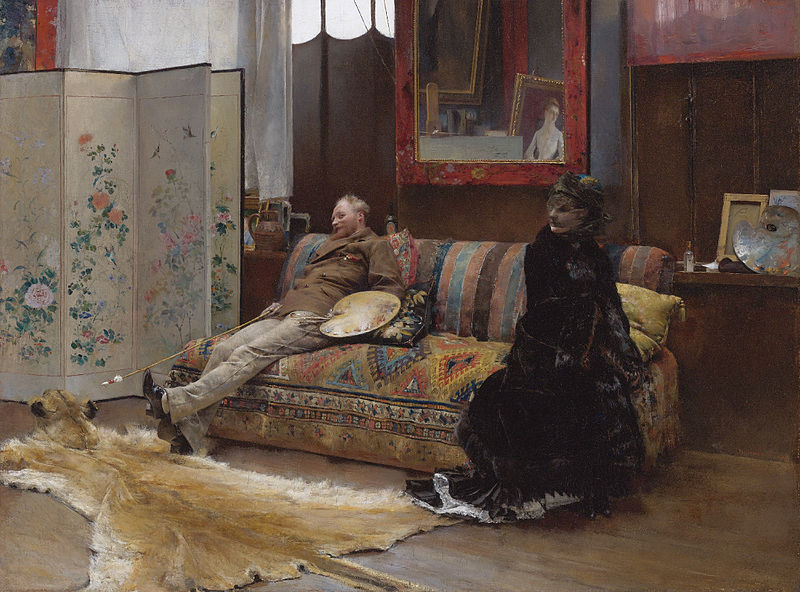 File:Sulking - Gustave Courtois in his Studio by Pascal-Adolphe-Jean Dagnan-Bouveret.jpg