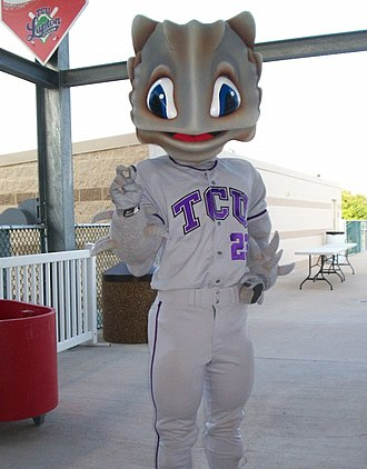 TCU Horned Frogs - Superfrog at a Baseball game.