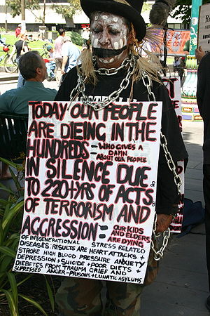 Djadjawurrung - Dja Dja Wurrung elder Aunty Sue Rankin at the Human Rights Day gathering in Melbourne, 2005
