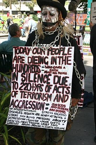 Djadjawurrung - Dja Dja Wurrung elder Aunty Sue Rankin at the Human Rights Day gathering in Melbourne, 2005