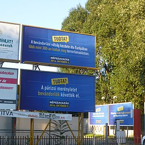 Hungarian migrant quota referendum, 2016 - Blue-coloured billboards of the government in Szeged