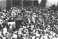 "THE FUNERAL PROCESSION OF DR. SHMARYAHU LEVIN IN FRONT OF THE ""HABIMA"" THEATRE IN TEL AVIV. תהלוכת הלוויה של ד""ר שמריהו לוין, מחוץ לתאטרון ""הבימה"" בתלD22-028.jpg"