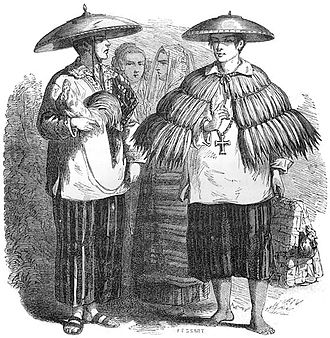 Bakya - A Tagalog wearing bakyâ in the 19th century.  From Aventures d'un Gentilhomme Breton aux iles Philippines by Paul de la Gironiere, published in 1855.