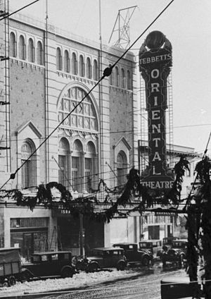 Oriental Theatre (Portland, Oregon) - Showing the tall marquee originally mounted on the building's façade
