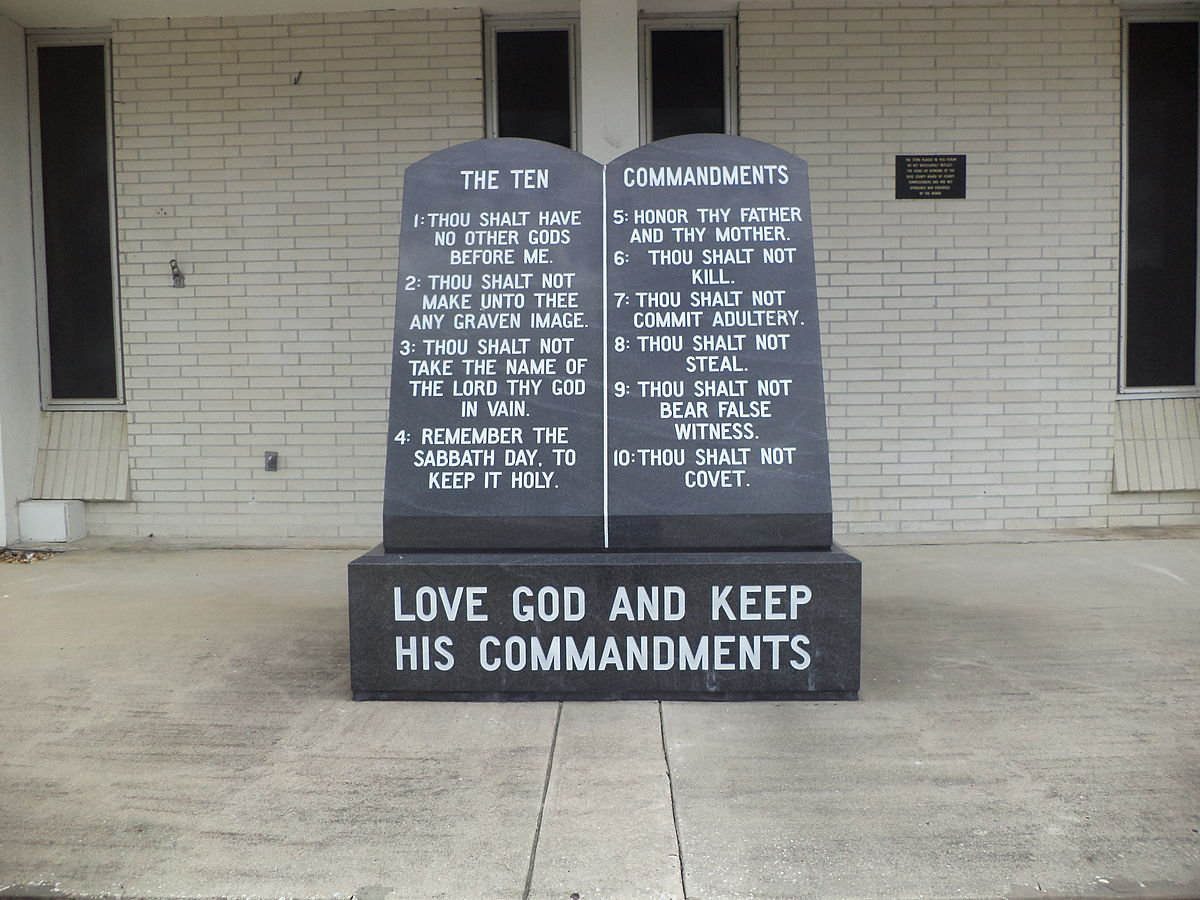 Ten Commandments marker in front of Dixie County Courthouse.JPG