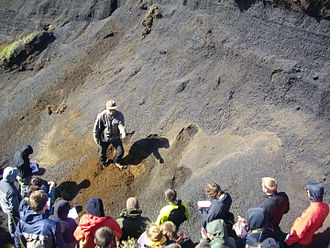 Tephrochronology - Geologist explaining the importance of tephochronology to students on field in Iceland.