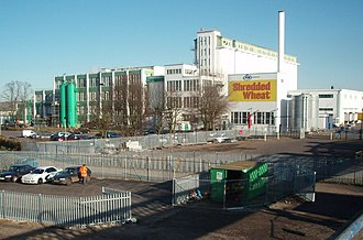 Welwyn Garden City - The Shredded Wheat factory as it was in 2007 while still in operation.  The landmark Shredded Wheat sign, visible from trains arriving in Welwyn Garden City, has now been removed.
