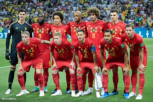 The Belgium national team line-up before the match against Brazil, 6 July 2018