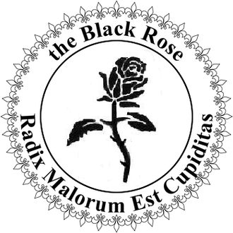 Radix malorum est cupiditas - The official emblem of the Black Rose, an anarchist symbol, with the quotation on the bottom of the seal