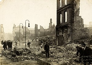 Burning of Cork - Workers clearing rubble on St Patrick's street in Cork following the fires