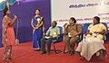 The Dy. Superindent of Police, Periyakulam, Smt. P. Uma answering a query of a student at the interactive session on violence against women, at the Bharat Nirman Public Information Campaign, in Theni, Tamil Nadu.jpg