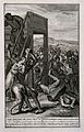 The Israelites stoning blasphemers. Engraving by A. de Blois Wellcome V0041510.jpg
