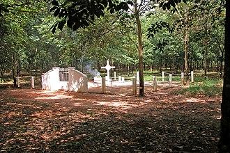Long Tan Cross - The replica cross and view of the Long Tan battlefield