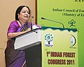 The Minister of State (Independent Charge) for Environment and Forests, Smt. Jayanthi Natarajan addressing at the 1st Indian Forest Congress, in New Delhi on November 22, 2011.jpg