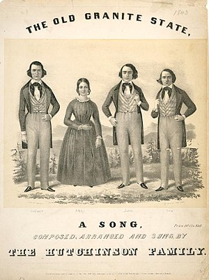 "Hutchinson Family Singers - ""The Old Granite State"" sheet music cover, c. 1840s."