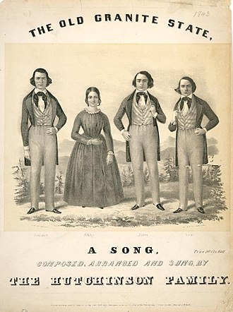 """Hutchinson Family Singers - """"The Old Granite State"""" sheet music cover, c. 1840s."""