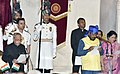 The President, Shri Pranab Mukherjee administering the oath as Minister of State to Shri Ramdas Athawale, at a Swearing-in Ceremony, at Rashtrapati Bhavan, in New Delhi on July 05, 2016.jpg