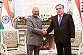 The President, Shri Ram Nath Kovind meeting the President of Tajikistan, Mr. Emomali Rahmon, at Palace of Nation, in Dushanbe, Tajikistan on October 08, 2018.JPG