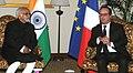 The President of France, Mr. Francois Hollande meeting the Vice President, Shri M. Hamid Ansari, in New Delhi on January 25, 2016 (1).jpg