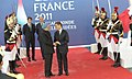 The Prime Minister, Dr. Manmohan Singh being received by the President of France, Mr. Nicolas Sarkozy, at the plenary session of G-20 Summit, in Cannes, France on November 03, 2011 (1).jpg