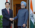The Prime Minister, Dr. Manmohan Singh shaking hands with the President of the People's Republic of China, Mr. Hu Jintao, in New Delhi on November 21, 2006.jpg