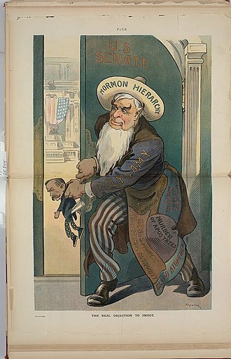 "Reed Smoot hearings -  ""The Real Objection to Smoot."" 1904 political cartoon from Puck Magazine depicting Senator Smoot in the hands of the ""Mormon Hierarchy."""