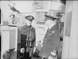 Francis Curzon, 5th Earl Howe - Commodore The Earl Howe (right) with his son, Lieutenant Edward Curzon, on board the battleship HMS Howe during WWII