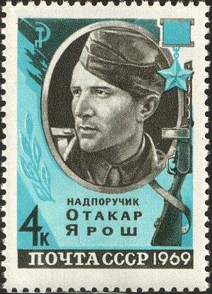 Otakar Jaroš - Otakar Jaroš on a 1969 postage stamp of the USSR.