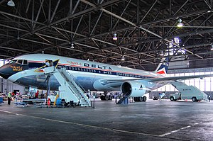Delta Flight Museum - The Spirit of Delta in restoration hangar.