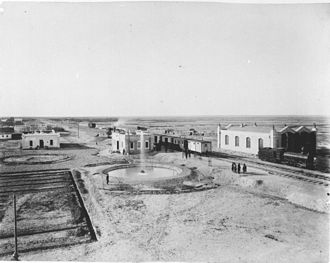 Trans-Caspian railway - The station of Baharly on the Trans-Caspian Railway, c. 1890