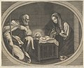 The Virgin kneeling in prayer before the infant Christ who is lying on a wooden box, Saint Joseph at left, a mule at right, in an oval frame, after Reni MET DP841779.jpg