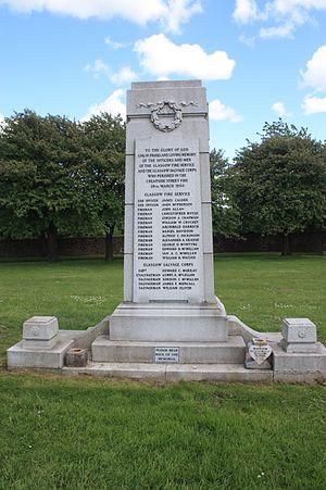 Cheapside Street whisky bond fire - The memorial to those killed in the Cheapside Street Fire, Glasgow Necropolis