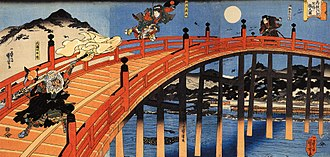 Benkei - The moonlight fight between Yoshitsune and Benkei. Gojo Bridge, Kyoto