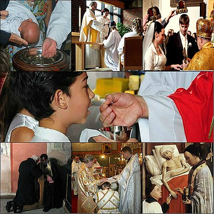 The seven sacraments of the Catholic church: Baptism, Confirmation, Matrimony, Eucharist, Penance, Holy Orders and the Anointing of the Sick. The seven Sacrament.jpg