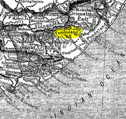 Old map of the Eastern Cape, showing Thembuland (highlighted)