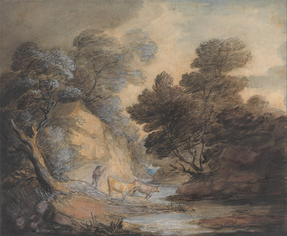 Thomas Gainsborough - Cattle Watering by a Stream - Google Art Project