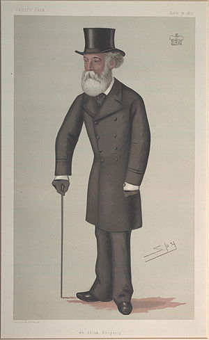 """Thomas Taylour, 3rd Marquess of Headfort - """"An Irish Property"""". Caricature by Spy published in Vanity Fair in 1877."""