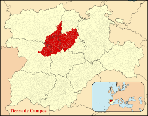 Location of present-day administrative areas under the name 'Tierra de Campos' in Castile and León