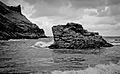 Tintagel Castle - Castle beach and the Haven (6238380425).jpg