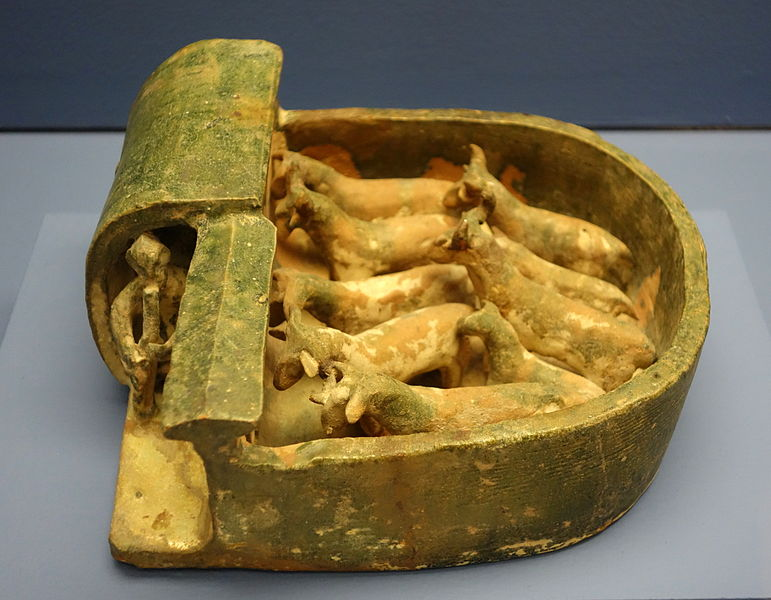 File:Tomb model of goat pen with goats (mingqi), China, Han dynasty, 206 BC - 220 AD, earthenware with green glaze - Fitchburg Art Museum - DSC08719.JPG