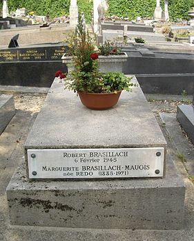 Tombe Robert Brasillach, Cimetière de Charonne, Paris.jpg