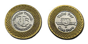 Obverse and reverse sides of single-ride token...